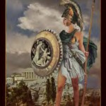 Athena standing in front of Athens